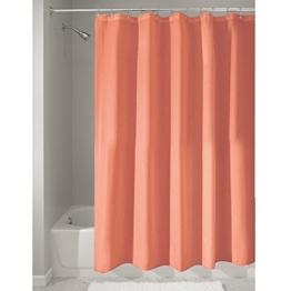 InterDesign Duschvorhang aus Stoff | wasserdichter Duschvorhang mit verstärktem Saum | waschbarer Textil Duschvorhang in der Größe 183,0 cm x 183,0 cm | Polyester korallefarben -