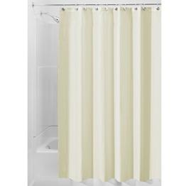 InterDesign Duschvorhang aus Stoff | wasserdichter Duschvorhang mit verstärktem Saum | waschbarer Textil Duschvorhang in der Größe 183,0 cm x 183,0 cm | Polyester sandfarben -