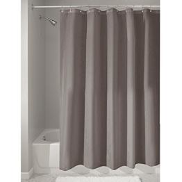 InterDesign Duschvorhang aus Stoff | wasserdichter Duschvorhang mit verstärktem Saum | waschbarer Textil Duschvorhang in der Größe 183,0 cm x 183,0 cm | Polyester taupe -