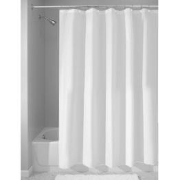 InterDesign Duschvorhang aus Stoff | wasserdichter Duschvorhang mit verstärktem Saum | waschbarer Textil Duschvorhang in der Größe 183,0 cm x 183,0 cm | Polyester weiß -