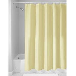 InterDesign Duschvorhang aus Stoff | wasserdichter Duschvorhang mit verstärktem Saum | waschbarer Textil Duschvorhang in der Größe 183,0 cm x 183,0 cm | Polyester zitronengelb -