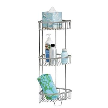 InterDesign Forma Ultra Freistehendes 3-Stöckiges Badezimmer-Regal - Edelstahl Gebürstet -