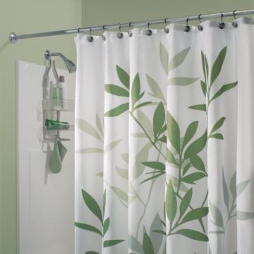InterDesign Leaves Duschvorhang | Designer Duschvorhang in der Größe 180,0 cm x 200,0 cm | schickes Duschvorhang Motiv mit Blättern | Polyester grün -