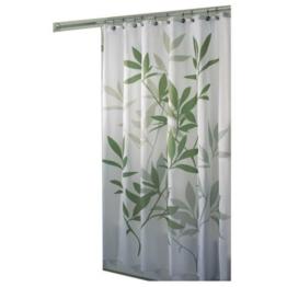 InterDesign Leaves Duschvorhang | Designer Duschvorhang in der Größe 183,0 cm x 183,0 cm | schickes Duschvorhang Motiv mit Blättern | Polyester grün -