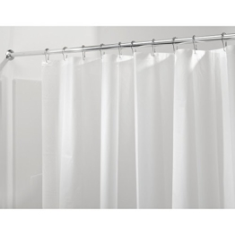 InterDesign PVC-Free PEVA 3-Gauge Shower Curtain Liner, 180 x 180 cm - Frost -