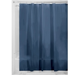 InterDesign PVC-Free PEVA 3-Gauge Shower Curtain Liner, 180 x 180 cm - Navy -