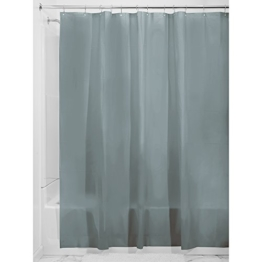 InterDesign PVC-Free PEVA 3-Gauge Shower Curtain Liner, 180 x 180 cm - Smoke -