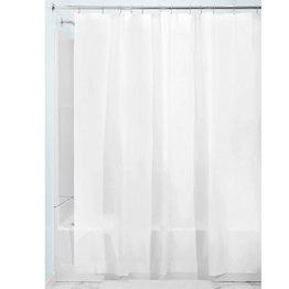 InterDesign PVC-Free PEVA 3-Gauge Shower Curtain Liner, 180 x 180 cm - White -