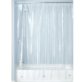 InterDesign PVC-Free PEVA 3-Gauge Shower Curtain Liner, 183 x 183 cm - Clear -