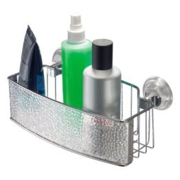 InterDesign Rain Power Lock Badezimmer-/Dusch-Caddy mit Saugnapf für Shampoo, Conditioner, Seife - Rechteckig, Durchsichtig -
