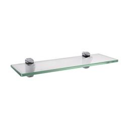 KES Badablage Glasregal Eckablage Glasbodenträger aus Edelstahl und Glas, Klar und Silber, BGS3202S35 -