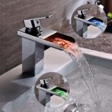 Kinse Design LED RGB Wasserhahn Waschtischarmatur Armatur Kupfer für Bad Küche Waschtisch Waschbecken mit 2 Anschluss 3 / 8 Zoll -