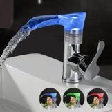 Kinse LED Einhebel Wassserhahn 3 Farben Wasserfall Armatur Wasserhahn Waschtischarmatur Bad/Badzimmer Bad Küchen -