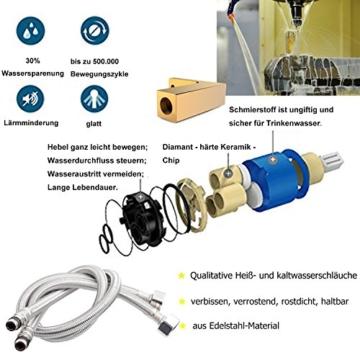 Küchenarmatur verchromt 10 Jahre Garantie mit G 3/8 Norm-Anschluss Hochdruck 360° Schwenkbereich Wasserhahn Küche aus Messing Spültisch-Einhebelmischer -