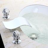 KunMai Moderne 3-Loch Wasserfall 2 Kristall Griff Bad Bassin Tap in Chrome -