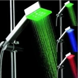 LED Duschkopf mit automatischem 3 Farbwechsel Temperaturanzeige für Gute-Laune beim Duschen Multi colour Flashing LED-Regenbogen Effekt -