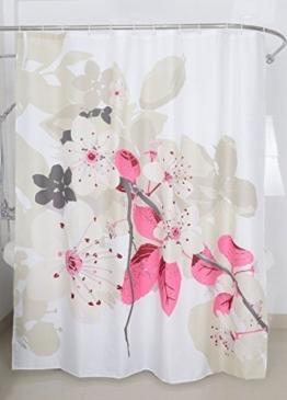 Magic Vida Dekorative Blumen Duschvorhang Pfirsichblüte Nature Series mit lebendigen Farben 180cm x 200cm -