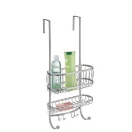 mDesign Badezimmer Dusch-Caddy zum Hängen über die Tür für Shampoo, Conditioner, Seife - Silberfarben -