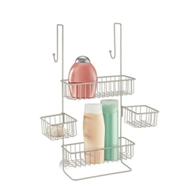 mDesign Duschablage zum Hängen über die Duschtür - praktisches Duschregal - ohne Bohren zu montieren - Duschkörbe zum Hängen aus Edelstahl - für sämtliches Duschzubehör -