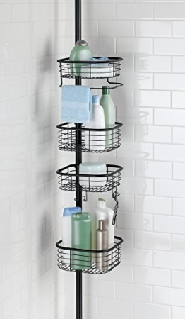 mDesign Teleskop-Duschregal - ohne Bohren zu montierende Duschablage aus Edelstahl - ideal für Shampoo, Rasierer, Schwämme und sonstiges Duschzubehör -