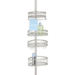 mDesign Teleskop-Duschregal - ohne Bohren zu montierende Duschablage aus Metall - ideal für Shampoo, Rasierer, Schwämme und sonstiges Duschzubehör -