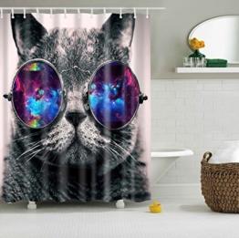 Misslight Wasserfest Duschvorhang bunte Baum Hai Tier Krake Katze Seestern Badezimmer Anti-Schimmel-Effekt Polyester Bad Vorhang wasserdicht mit Haken Digital gedruckt (Katze) -