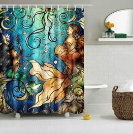 Misslight Wasserfest Duschvorhang bunte Baum Hai Tier Krake Katze Seestern Badezimmer Anti-Schimmel-Effekt Polyester Bad Vorhang wasserdicht mit Haken Digital gedruckt (Mermaid) -