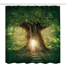 Rainbrace Badezimmer Duschvorhang, Anti-Schimmel 100% Polyester Badewanne Duschvorhänge, 3D Effekt und Digitaldruck, Wasserdicht mit 12 weißen Haken, Sonne und Baum (180 x 180cm) -