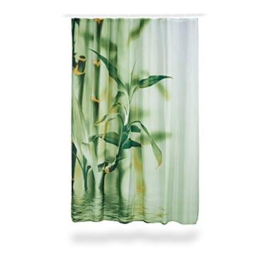 Relaxdays Duschvorhang Bambus Design, Polyester, Textil, waschbar, Pflanze, Stoff, 200 x 180 cm, Wannenvorhang, grün -