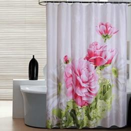 S-ZONE Pfingstrose Drucken Duschvorhang Verdicken Anti-Schimmel Polyester Wasserabweisend 180x180 -