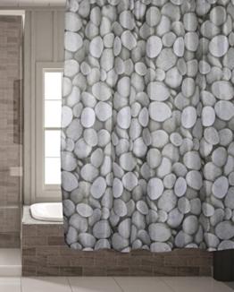 Schimmelresistenter Wasserabweisender Textil Duschvorhang für die Badewanne mit Digitaldruck, inkl. 12 Duschvorhangringe passend für jede Duschvorhangstange - Verschönert jedes Badezimmer mit tollen Motiven in der Größe 180 x 180 cm (Steine) -