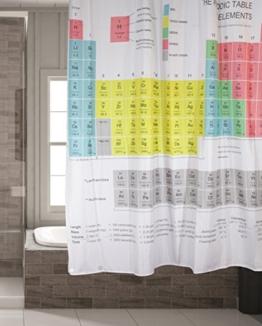 Schimmelresistenter Wasserabweisender Textil Duschvorhang für die Badewanne mit Digitaldruck, inkl. 12 Duschvorhangringe passend für jede Duschvorhangstange - Verschönert jedes Badezimmer mit tollen Motiven in der Größe 180 x 180 cm (Periodensystem) -
