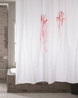 Schimmelresistenter Wasserabweisender Textil Duschvorhang für die Badewanne mit Digitaldruck, inkl. 12 Duschvorhangringe passend für jede Duschvorhangstange - Verschönert jedes Badezimmer mit tollen Motiven in der Größe 180 x 180 cm (Horror) -