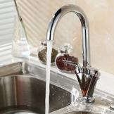 TAPCET Wasserhahn Küche Mischbatterie Armatur einhebel Küchenarmatur mit Zweigriff Drehbar Spüle Chrom Hahn Silber für Bad oder Küche -
