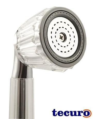 tecuro Handbrause Brausekopf Duschkopf KRISTAL - stufenlos umstellbar - Kunststoff hochglanzverchromt/transparent -