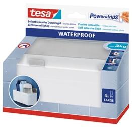 tesa Powerstrips Duschregal wasserfest / Selbstklebender Halter aus rostfreiem Edelstahl und Kunststoff für die Dusche / Bis 3 kg / Rückstandslos entfernbar / 1 Stück -