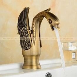 TougBoo neue Design Luxus Kupfer Armaturen für warmes und kaltes Schwan Armatur Gold vergoldet Gold Waschbecken Wasserhahn Mischer Armaturen Hj - 35K, Messing, Antik -