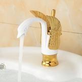 TougBoo neue Design Luxus Kupfer Armaturen für warmes und kaltes Schwan Armatur Gold vergoldet Gold Waschbecken Wasserhahn Mischer Armaturen Hj - 35K, Messing, weiß -