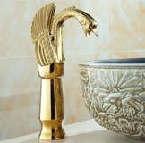 Tougboo neues Design Luxus Kupfer heißen und kalten tippt Schwan Armatur Gold plattiert Waschbecken Wasserhahn Mischbatterien, Messing, Golden -