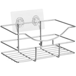 TROP Universalkorb aus rostfreiem Edelstahl mit schraubenloser Befestigung für Bad und Küche - ohne Bohren / Duschablage / Duschkorb - mit 3 Jahren Geld-zurück-Garantie -