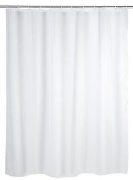 WENKO 19103100 Duschvorhang Uni Weiß - wasserdicht, pflegeleicht, Kunststoff - PEVA, Weiß (Gr. 120 X 200 cm) -