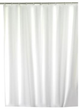 Wenko 19104100 Duschvorhang Uni weiß - wasserdicht, pflegeleicht, Kunststoff - Peva, weiß -