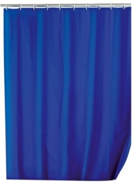 WENKO 19106100 Duschvorhang Uni Night Blue - wasserdicht, pflegeleicht, Kunststoff - PEVA, Dunkelblau -