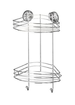 Wenko 20885100 Vacuum-Loc Eckregal 2 Etagen, Befestigen ohne bohren, Stahl, 23 x 43 x 21 cm, Chrom -