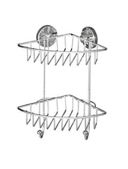 WENKO 20888100 Vacuum-Loc Eckregal Bari 2 Etagen - Befestigen ohne bohren, Stahl, 22.5 x 29.5 x 16 cm, Chrom -