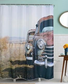 """A.Monamour Vintage Altes Auto In Abgelegenen Feldern Land Bild Druck Bad Zubehör Tuch Duschvorhänge Textil 180X200 Cm / 72 """"X78"""" -"""