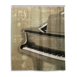 Bad Vorhang für die Dusche 152,4x 182,9cm, Vintage Musik Instrument Klavier, Polyester-Schimmelfest-Badezimmer Vorhang -