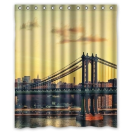 Brooklyn Background Waterproof Shower Curtain/Bath Curtain--Size: 60 -