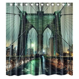 Custom New York City Manhattan Brooklyn Bridge Waterproof Polyester Fabric Bathroom Shower Curtain Standard Size 66(w)x72(h) -