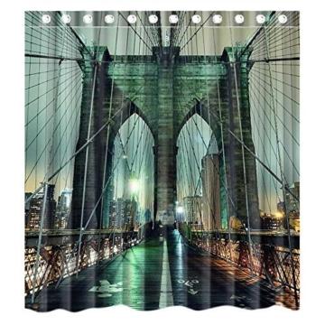 Custom New York City Manhattan Brooklyn Bridge Waterproof Polyester Fabric Bathroom Shower Curtain Standard Size 66(w)x72(h) -